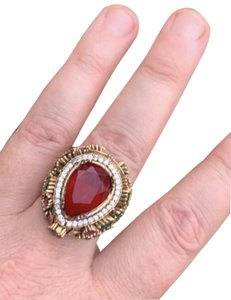 Royal Princess Collection Vintage RUBY EMERALD Ring Size 9.5 Solid 925 Sterling Silver/Gold Wow! Gems: Pear Cut Ruby, Round/Oval Emeralds/Rubies, Diamond Color Topaz