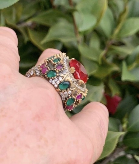 Royal Princess Collection Vintage RUBY EMERALD Ring Size 9.5 Solid 925 Sterling Silver/Gold Wow! Gems: Pear Cut Ruby, Round/Oval Emeralds/Rubies, Diamond Color Topaz Image 10