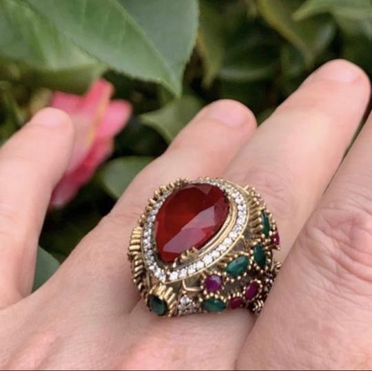 Royal Princess Collection Vintage RUBY EMERALD Ring Size 9.5 Solid 925 Sterling Silver/Gold Wow! Gems: Pear Cut Ruby, Round/Oval Emeralds/Rubies, Diamond Color Topaz Image 11