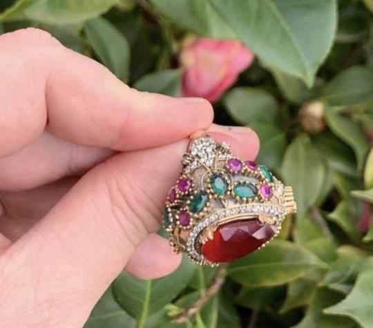 Royal Princess Collection Vintage RUBY EMERALD Ring Size 9.5 Solid 925 Sterling Silver/Gold Wow! Gems: Pear Cut Ruby, Round/Oval Emeralds/Rubies, Diamond Color Topaz Image 2