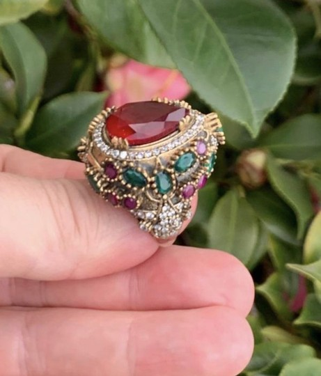 Royal Princess Collection Vintage RUBY EMERALD Ring Size 9.5 Solid 925 Sterling Silver/Gold Wow! Gems: Pear Cut Ruby, Round/Oval Emeralds/Rubies, Diamond Color Topaz Image 3