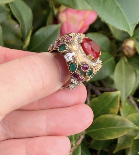 Royal Princess Collection Vintage RUBY EMERALD Ring Size 9.5 Solid 925 Sterling Silver/Gold Wow! Gems: Pear Cut Ruby, Round/Oval Emeralds/Rubies, Diamond Color Topaz Image 6