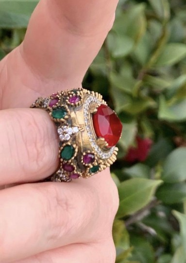 Royal Princess Collection Vintage RUBY EMERALD Ring Size 9.5 Solid 925 Sterling Silver/Gold Wow! Gems: Pear Cut Ruby, Round/Oval Emeralds/Rubies, Diamond Color Topaz Image 7