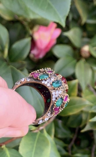 Royal Princess Collection Vintage RUBY EMERALD Ring Size 9.5 Solid 925 Sterling Silver/Gold Wow! Gems: Pear Cut Ruby, Round/Oval Emeralds/Rubies, Diamond Color Topaz Image 8