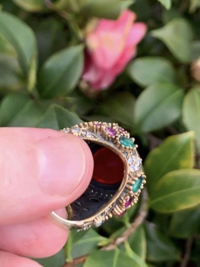 Royal Princess Collection Vintage RUBY EMERALD Ring Size 9.5 Solid 925 Sterling Silver/Gold Wow! Gems: Pear Cut Ruby, Round/Oval Emeralds/Rubies, Diamond Color Topaz Image 9