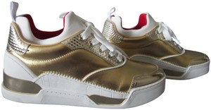 Christian Louboutin Metallic Leather Red Sole With Box Snow Gold Athletic
