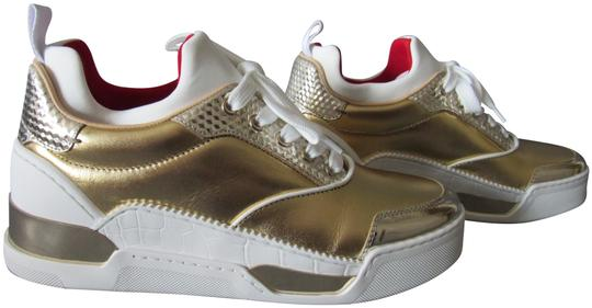 Preload https://img-static.tradesy.com/item/25637810/christian-louboutin-gold-and-white-new-aurelien-donna-flat-leather-sneakers-size-eu-385-approx-us-85-0-3-540-540.jpg