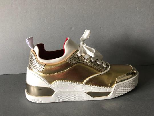 Christian Louboutin Metallic Leather Red Sole With Box Snow Gold Athletic Image 1