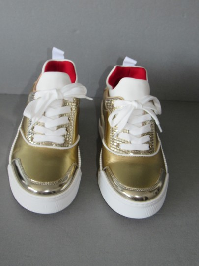 Christian Louboutin Metallic Leather Red Sole With Box Snow Gold Athletic Image 3