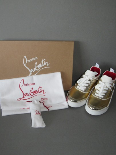 Christian Louboutin Metallic Leather Red Sole With Box Snow Gold Athletic Image 5