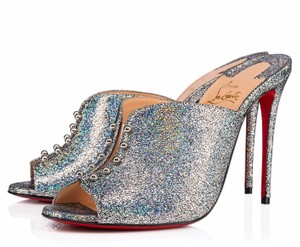 Christian Louboutin Iridescent Metallic Shimmer Wedges multicolor Mules