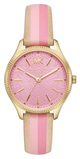 Michael Kors NWT Women's Lexington Three-Hand Striped Leather Watch MK2809 Image 0