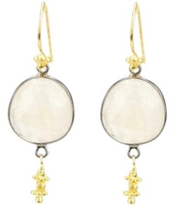 Chan Luu Chan Luu 22K Gold vermil moon stone earrings