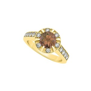 Marco B Fancy Fashion Ring with Round Smoky Quartz and Cubic Zirconia