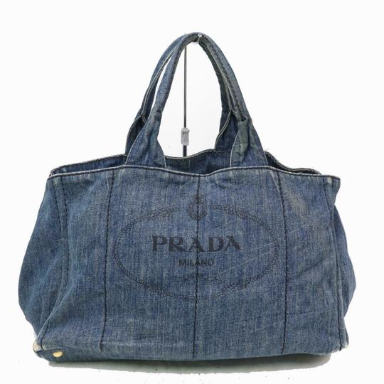 Prada Mint Condition Two-way Style Tote/Cb/Shoulder Canapa Emblem Tote in dark rinse blue heavy denim with XL PRADA logo on one side Image 0
