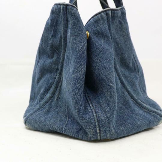Prada Mint Condition Two-way Style Tote/Cb/Shoulder Canapa Emblem Tote in dark rinse blue heavy denim with XL PRADA logo on one side Image 1