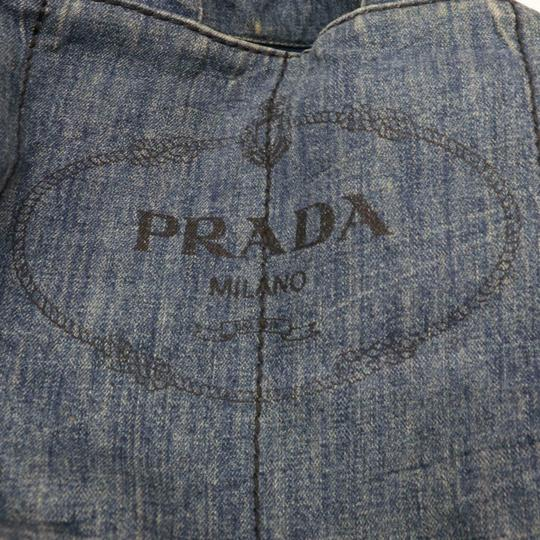Prada Mint Condition Two-way Style Tote/Cb/Shoulder Canapa Emblem Tote in dark rinse blue heavy denim with XL PRADA logo on one side Image 4