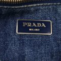 Prada Mint Condition Two-way Style Tote/Cb/Shoulder Canapa Emblem Tote in dark rinse blue heavy denim with XL PRADA logo on one side Image 5
