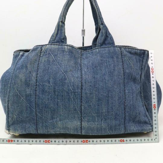 Prada Mint Condition Two-way Style Tote/Cb/Shoulder Canapa Emblem Tote in dark rinse blue heavy denim with XL PRADA logo on one side Image 6