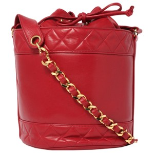 Chanel Bucket Vintage Drawstring Tote in Red