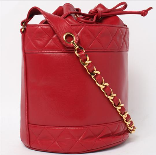 Chanel Bucket Vintage Drawstring Tote in Red Image 1