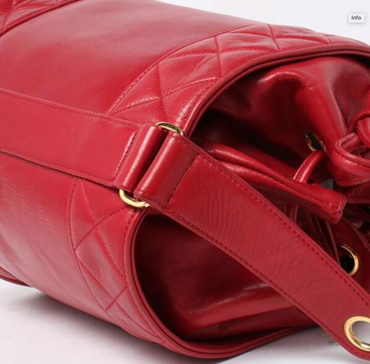 Chanel Bucket Vintage Drawstring Tote in Red Image 3