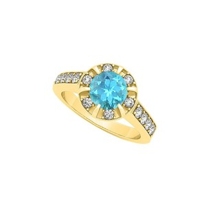 Marco B Fancy Fashion Ring with Round Blue Topaz and Cubic Zirconia