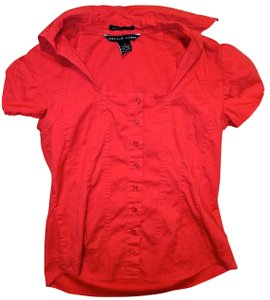 Antilia Femme Size Small Stretch Button Down Shirt red