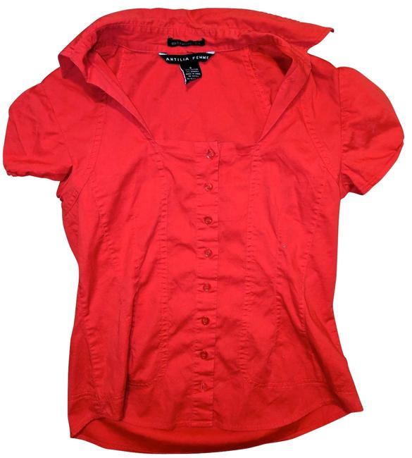 Item - Red Small Form Fit Stretch R137 Button-down Top Size 4 (S)
