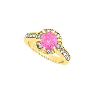 Marco B Fancy Fashion Ring with Round Pink Sapphire and Cubic Zirconia