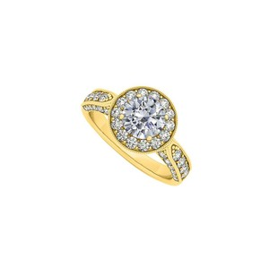 Marco B Halo Engagement Ring with CZ in 14K Yellow Gold
