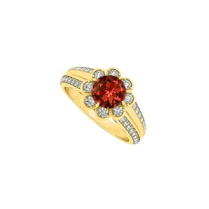 Marco B Floral Garnet and CZ Fashion Ring in 14K Yellow Gold 1.50 CT TGW