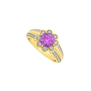 Marco B Amethyst Floral and Fancy Ring with CZ in 14K Yellow Gold 1.50 CT TGW