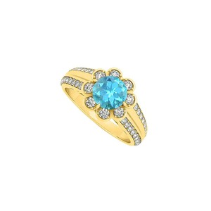 Marco B Fancy Blue Topaz and CZ Floral Ring in 14K Yellow Gold 1.50 CT TGW