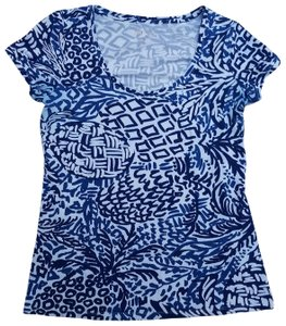 Lilly Pulitzer Free Shipping T Shirt Blue and white