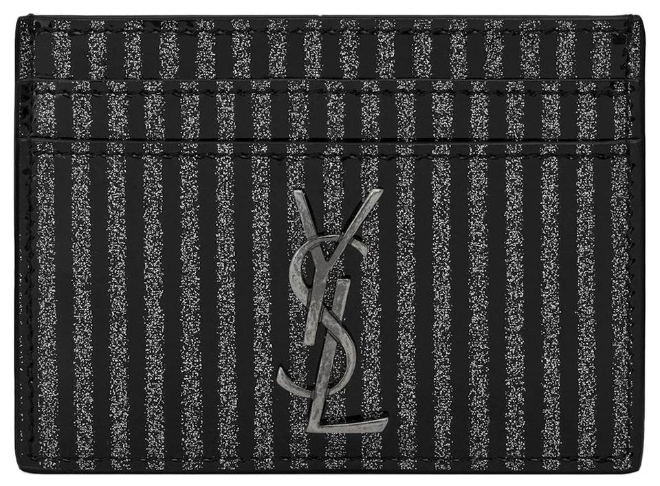 2a456df9 Saint Laurent Black Gray Box New Ysl Striped Card Case Id Wallet