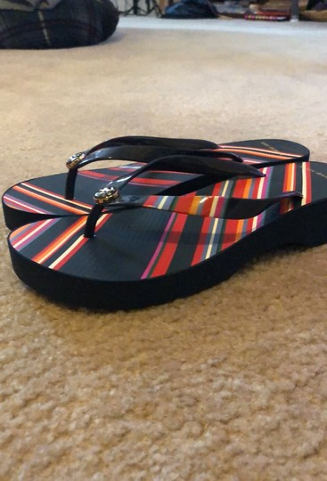 Tory Burch Navy Blue mostly and featuring multicolor stripes. Sandals Image 1