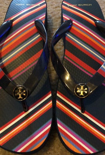 Tory Burch Navy Blue mostly and featuring multicolor stripes. Sandals Image 2