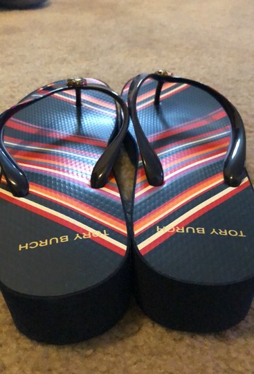 Tory Burch Navy Blue mostly and featuring multicolor stripes. Sandals Image 3