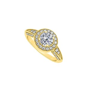 Marco B Yellow Gold Halo Engagement Ring with Cubic Zirconia