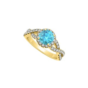 Marco B Criss Cross Shank Halo Engagement Ring December Birthstone Blue Topaz