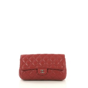 Chanel Cosmetic Quilted red Clutch