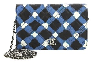 Chanel Wallet On Chain Leather white, black and blue Clutch