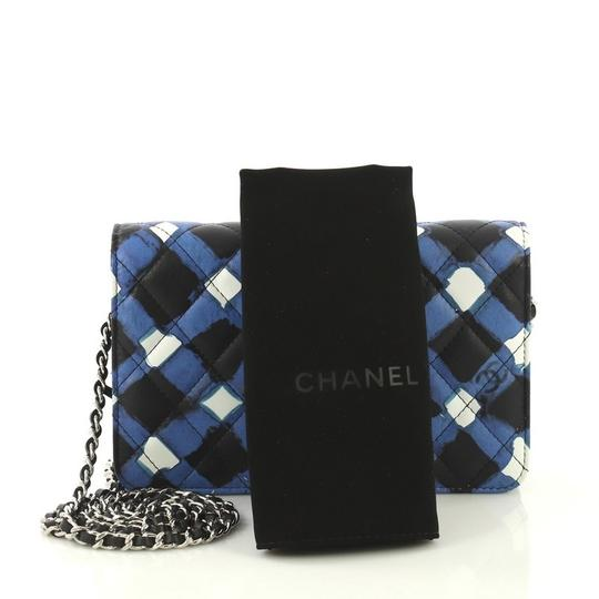 Chanel Wallet On Chain Leather white, black and blue Clutch Image 1