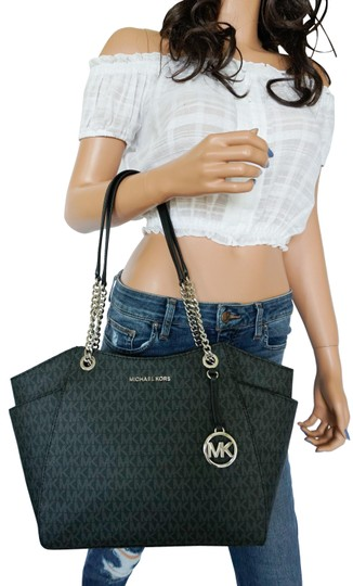 Preload https://img-static.tradesy.com/item/25638785/michael-kors-jet-set-travel-large-chain-mk-black-pvc-leather-tote-0-1-540-540.jpg