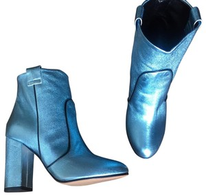 Unlace Metallic Ankle Leather Blue Boots