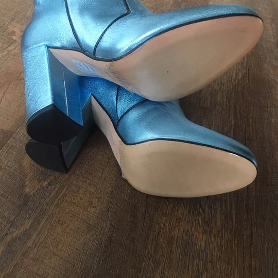 Unlace Metallic Ankle Leather Blue Boots Image 1