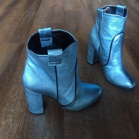 Unlace Metallic Ankle Leather Blue Boots Image 2