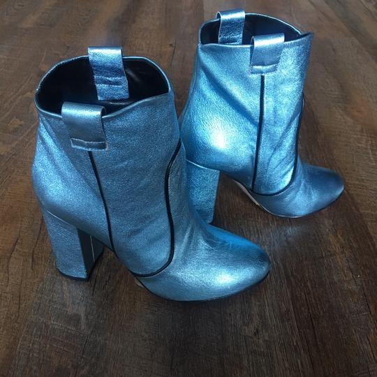 Unlace Metallic Ankle Leather Blue Boots Image 5