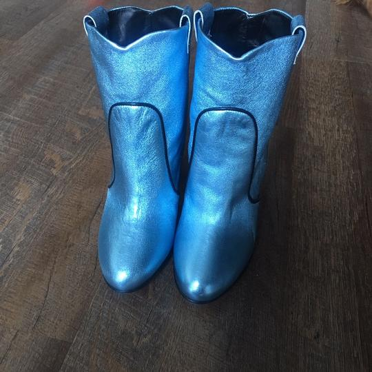Unlace Metallic Ankle Leather Blue Boots Image 7